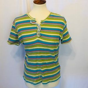 Todd Oldham jeans top striped L
